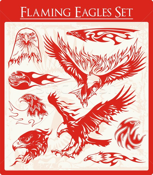 Vector set of flaming eagle illustrations, great for vehicle graphics, stickers and t-shirt decals. Stock photo © clipart_design