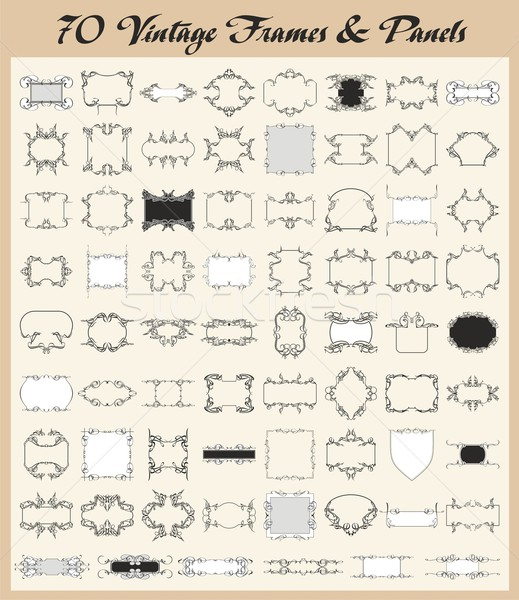 Stock photo: Vector set of 70 vintage ornamental frames and panels.