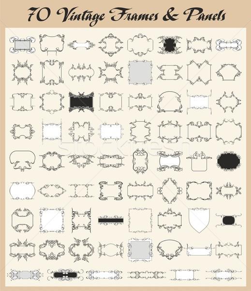 Vector set of 70 vintage ornamental frames and panels. Stock photo © clipart_design