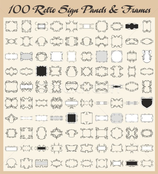 Vector set of 100 high quality ornamental frames and retro panels in vintage style. Stock photo © clipart_design