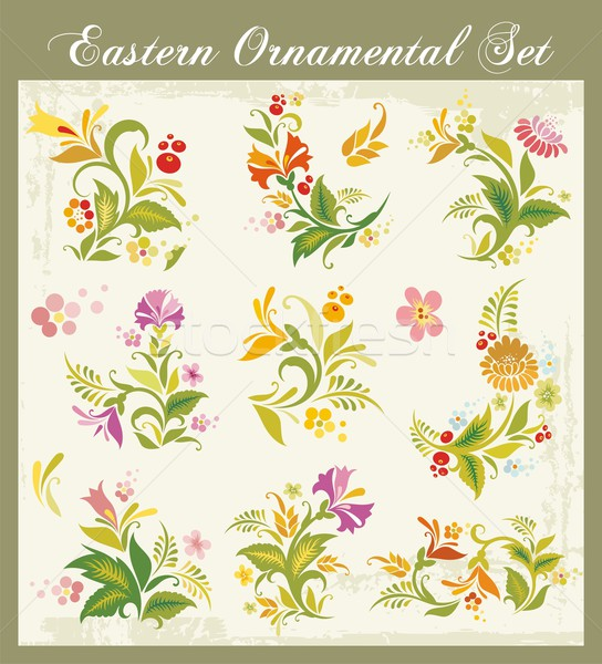 Vector floral ornamental set in Eastern style. Stock photo © clipart_design