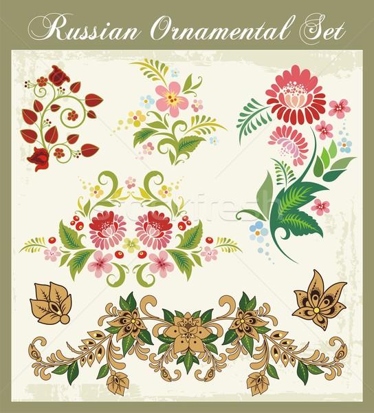 вектора цветочный декоративный набор традиционный русский Сток-фото © clipart_design