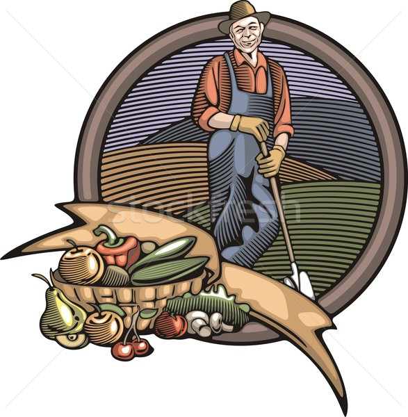 Vector illustration in retro woodcut style of a farmer, happy with the good harvest. Stock photo © clipart_design