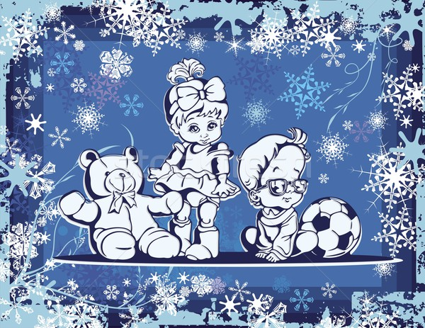 Vector illustration of cute babies over a winter background. Stock photo © clipart_design