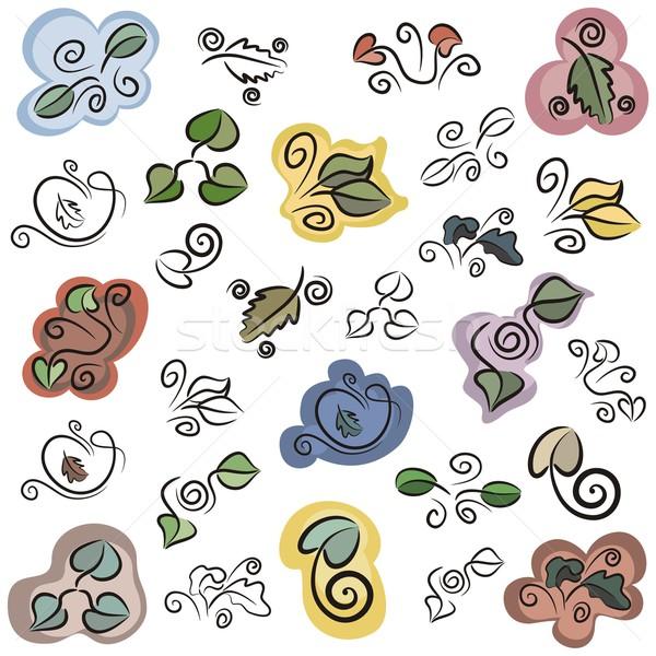 Vektor ikon szett levél ikonok szín Stock fotó © clipart_design