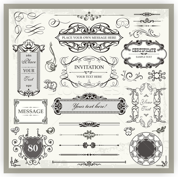 Vintage page décoration dessins Photo stock © clipart_design
