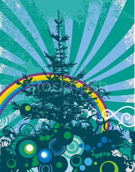 вектора Гранж дерево силуэта древесины Сток-фото © clipart_design