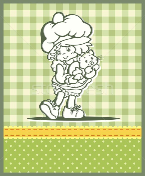 Vector illustration of a cute baby girl over kid patterns in retro style. Stock photo © clipart_design