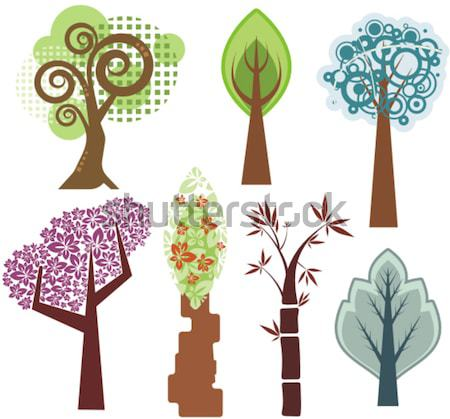 Vector set of tree illustrations in various styles. Stock photo © clipart_design