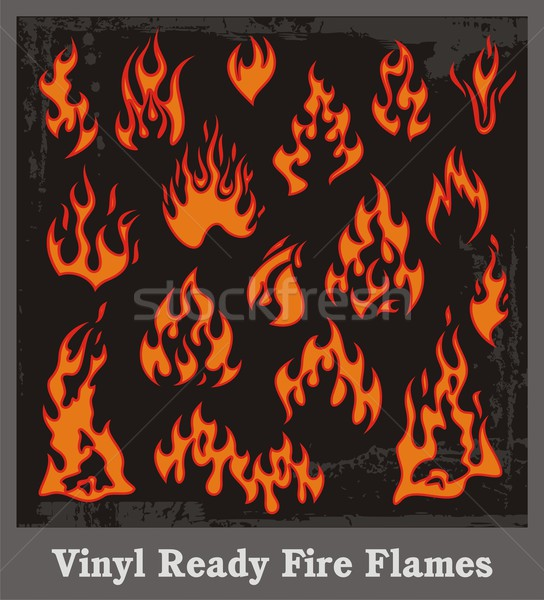 Ingesteld vinyl klaar brand vlammen achtergrond Stockfoto © clipart_design