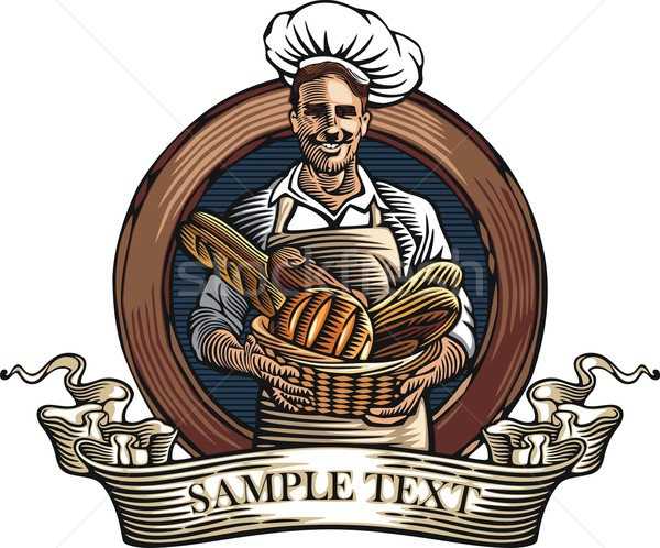 Vector illustration of a baker, holding a basket with bread loaves, done in retro woodcut style. Stock photo © clipart_design