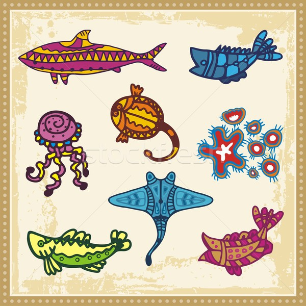 Vector set of animals in Australian aboriginal style. Stock photo © clipart_design