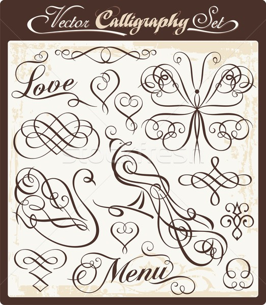 Vector set with exquisite calligraphic and ornamental designs. Great for wedding invitations. Stock photo © clipart_design