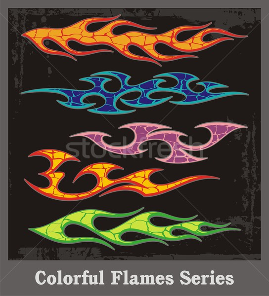 Colorful flame vehicle graphics with grunge patterns. Great for stickers and decals.  Stock photo © clipart_design