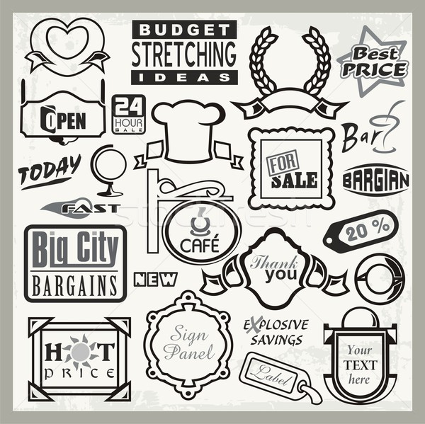 Vector set of vinyl ready sign and banner designs, headers and labels. Stock photo © clipart_design