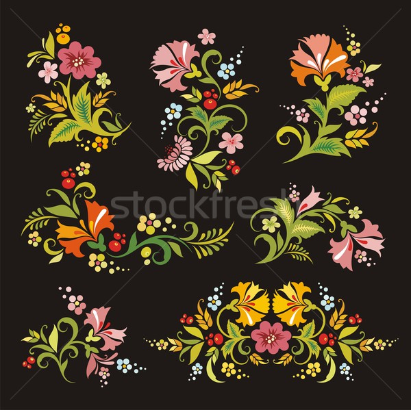 Vector floral ornamental set in vintage style. Stock photo © clipart_design