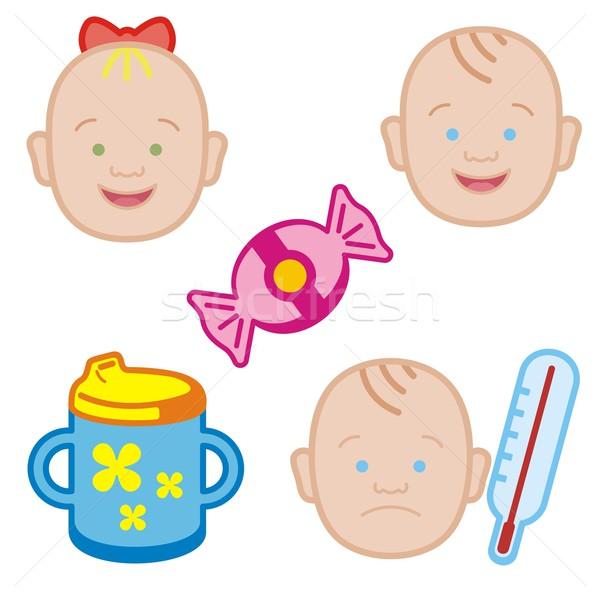 ребенка иконки семьи девушки улыбка пить Сток-фото © clipart_design
