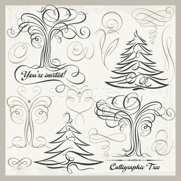 Vector set of 14 calligraphic design elements, trees, butterflies, florals, ornaments, scrolls. Viny Stock photo © clipart_design