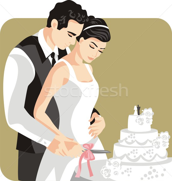 Vector illustration of a groom and his bride. Stock photo © clipart_design