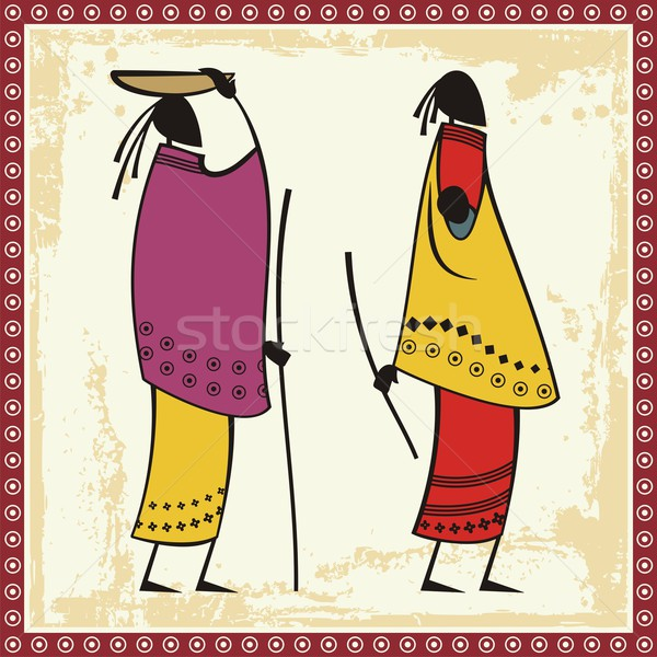 Vector illustrations of African Masai women in traditional clothing. Stock photo © clipart_design