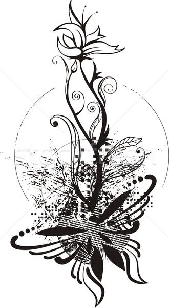 вектора Гранж цветочный детали текстуры бабочка Сток-фото © clipart_design