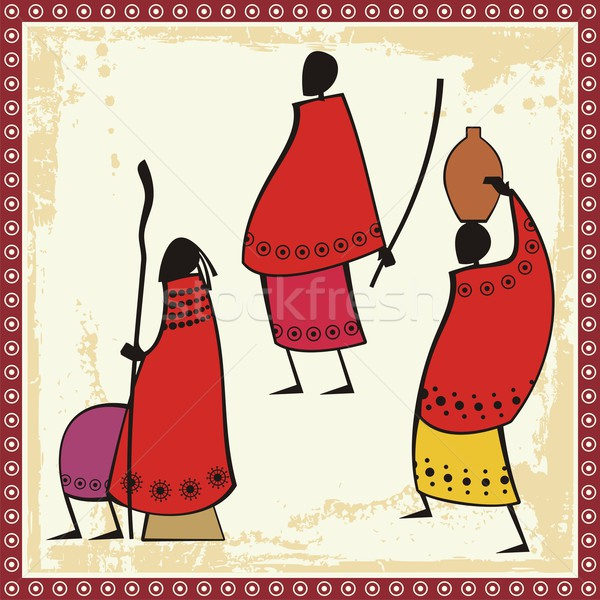 Vector illustrations of African Masai people in traditional clothing. Stock photo © clipart_design