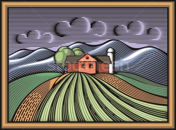 Vector illustration of an organic farm. Sustainable living theme graphic in woodcut style. Stock photo © clipart_design