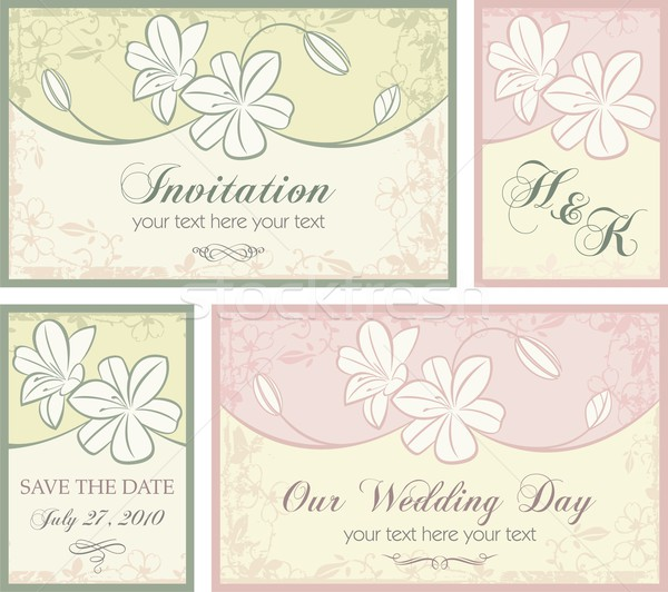 Vector set of wedding invitation designs with floral ornaments.  Stock photo © clipart_design