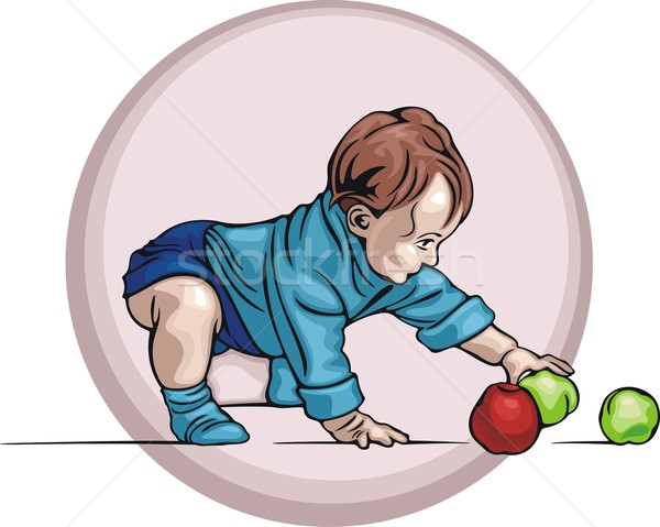 Cute baby spelen appels gezicht ogen Stockfoto © clipart_design