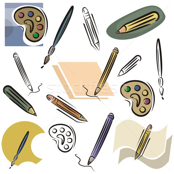 Vector Icons Series. Drawing & Writing Tools. Stock photo © clipart_design