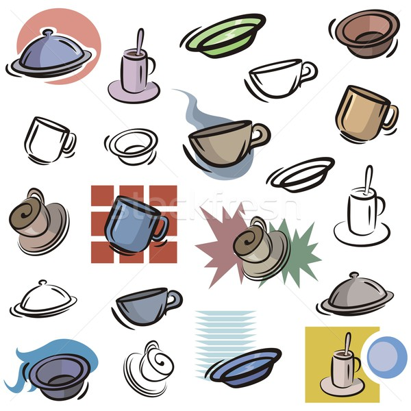 Vector Icon Series. Cups & Dishes. Stock photo © clipart_design