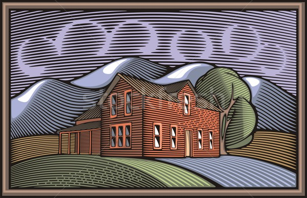 Vector illustration of a farm, surrounded by fields and mountains, done in retro woodcut style. Stock photo © clipart_design