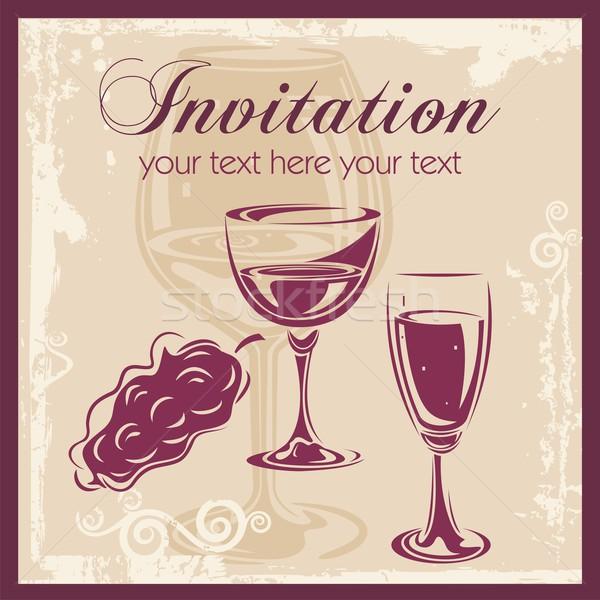 Сток-фото: вино · вектора · вечеринка · карт