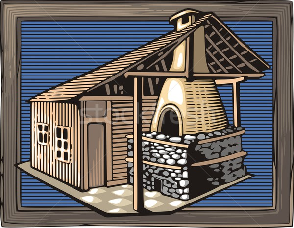 Vector illustration of a fire oven, done in retro woodcut style. Stock photo © clipart_design