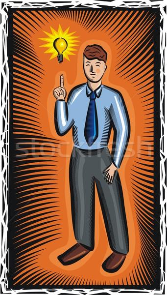 Jonge zakenman groot idee vector nieuwe Stockfoto © clipart_design