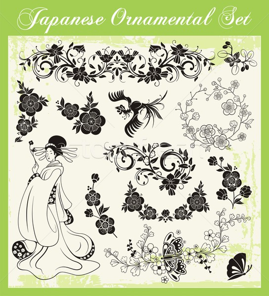Vector set of traditional Japanese ornaments and oriental decorative designs. Stock photo © clipart_design