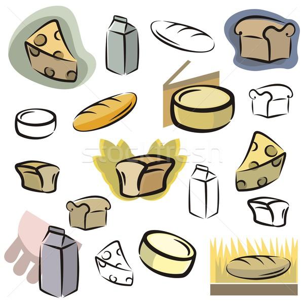 Vector icon zuivelfabriek brood ingesteld iconen Stockfoto © clipart_design