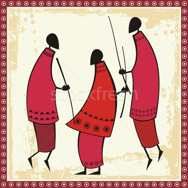 Vector illustrations of African Masai warriors in traditional clothing. Stock photo © clipart_design