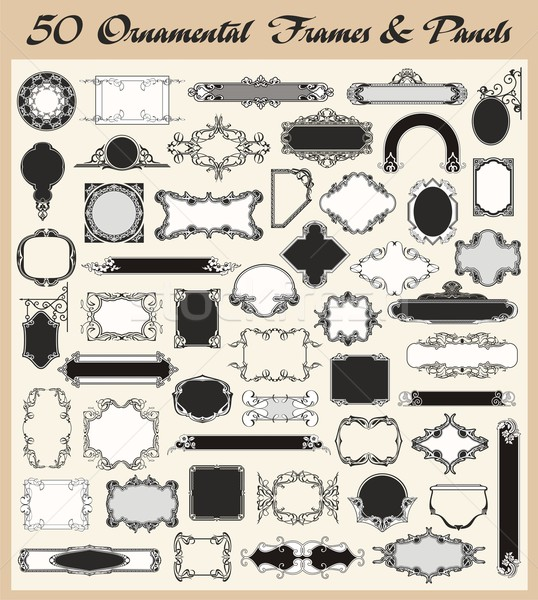 Vector set of 50 high quality ornamental frames and panels in vintage style. Stock photo © clipart_design