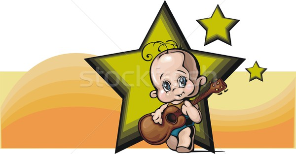 Vector illustration of a cute baby, playing a guitar. Stock photo © clipart_design