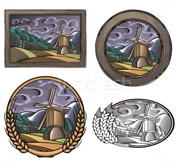 Vector illustration of a windmill, surrounded by fields and mountains, done in retro woodcut style. Stock photo © clipart_design