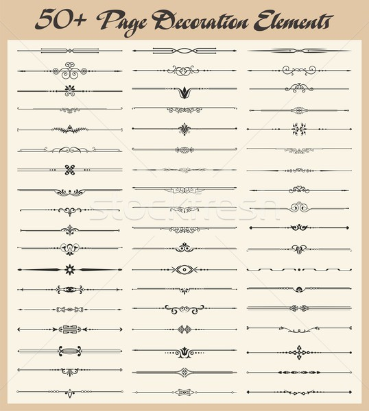 Vector set of 50+ vintage ornamental page decoration calligraphic design elements. Stock photo © clipart_design