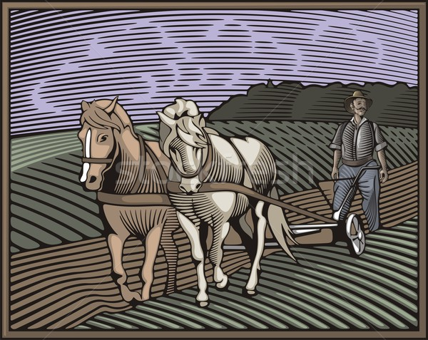 Vector illustration in retro woodcut style of a farmer, ploughing the land. Stock photo © clipart_design