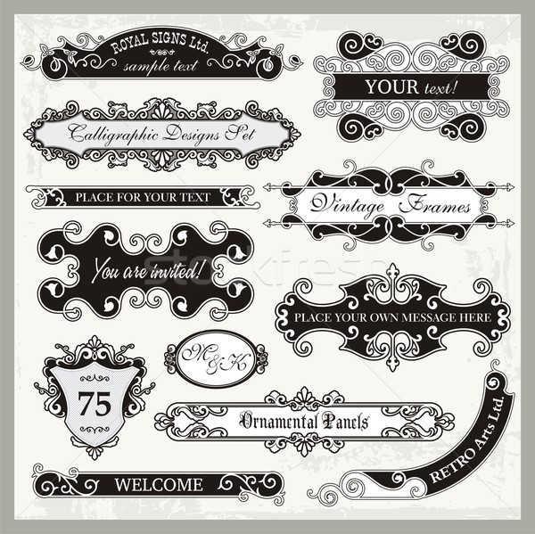 Vector set of ornamental frames and sign designs in vintage style. Stock photo © clipart_design