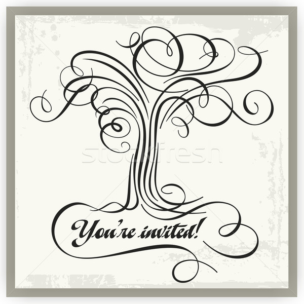 Vector calligraphic tree panel with place for your text. Stock photo © clipart_design