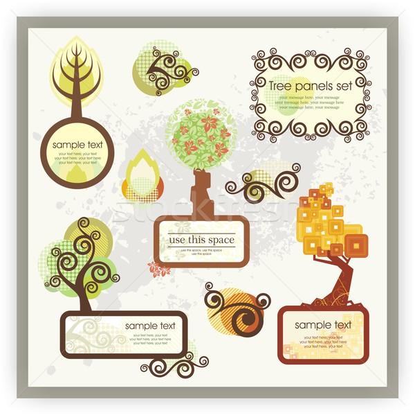 Foto stock: Vector · establecer · árbol · diseno · elementos