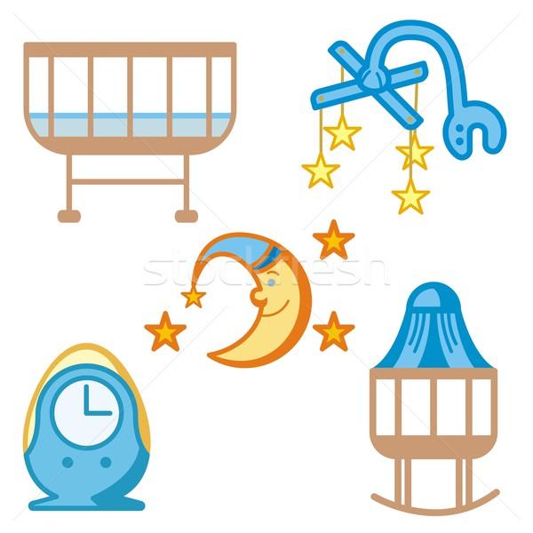 ребенка иконки улыбка знак весело кровать Сток-фото © clipart_design