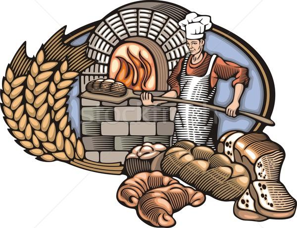 Bakker brood brand oven retro Stockfoto © clipart_design