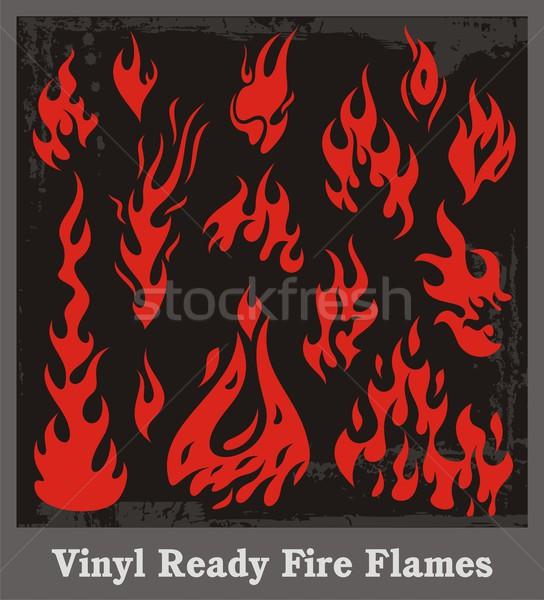 Stok fotoğraf: Ayarlamak · vinil · hazır · yangın · Alevler · arka · plan