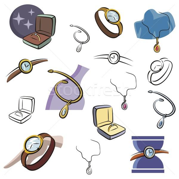 Vector iconen sieraden ingesteld horloge kleur Stockfoto © clipart_design